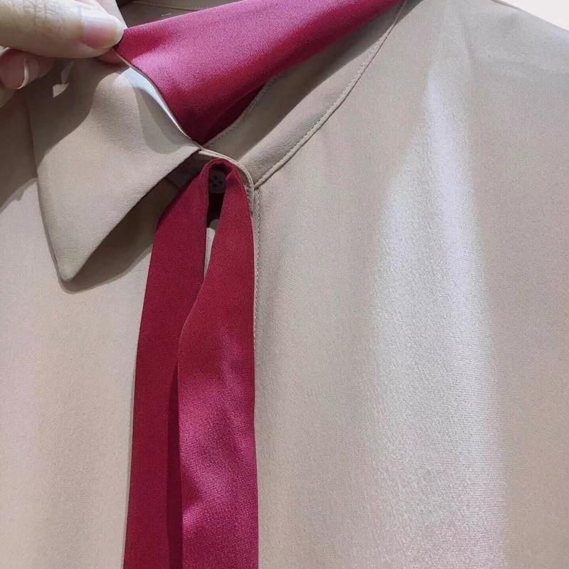 Женские блузки 2019 мода длинный рукав отложной воротник офисная рубашка свободна блузка рубашка повседневные топы плюс размер Blusas Femininas - 4