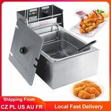 6L électrique friteuse acier inoxydable Commercial français Frie Machine à frire cuisine poulet Grill frit marmite avec panier