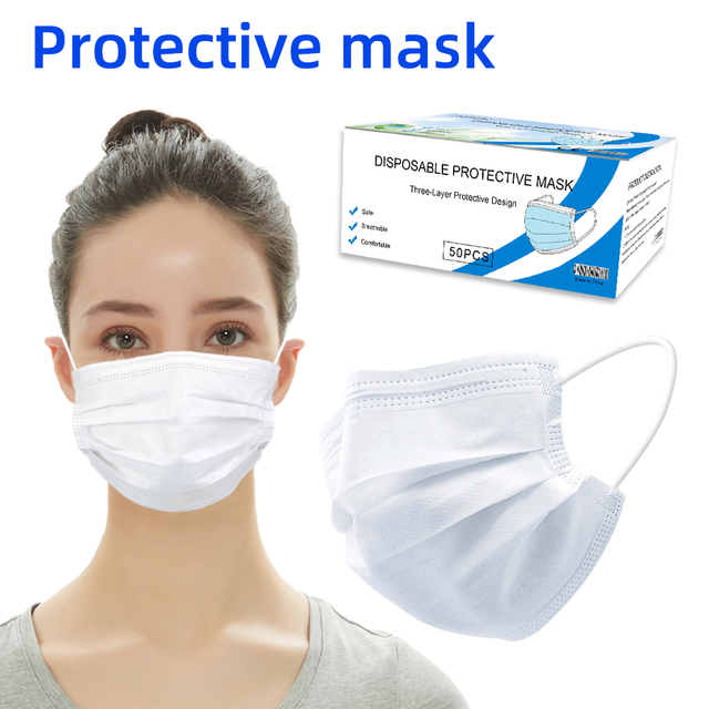 20pcs/50pcs Disposable Mask Mascarillas Masque 3 Layers tapabocas Respirator Face mouth Protective Dust proof Filter Safe mask 5