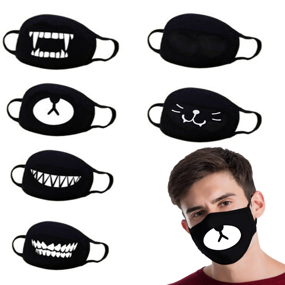 Cotton Dust Mask Unisex Cute Anime Cartoon Expression Teeth Muffle Chanyeol Face Respirator Anti Kpop Bear Mouth Mask Funny D30