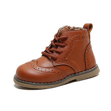 COZULLAA 2020 Children Autumn Unisex Classic Lace-Up Boots Brogue Leather Shoes Kids Girls Boys Ankle Boots Size 21-30 cheap CUZULLAA Rubber 7-12m 13-24m 25-36m 3-6y Spring Autumn Sewing Riding Equestrian Flat with Round Toe Fits true to size take your normal size