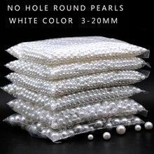 3-20 мм без отверстия белые круглые пластиковые акриловые ABS имитация жемчуга бусины Шарм свободные бусины счетчик дисплей бисера Ремесло Ювелирных Изделий