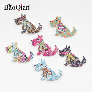 50Pcs Mixed 2 Holes Dog Wood Sewing Buttons For Kids Clothes Scrapbooking Decorative Crafts Botones Needlework DIY Accessories
