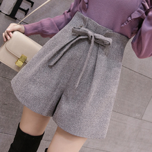 Milinsus Autumn Winter New Fashion High Waist Wide Leg Hairy Shorts Lacing Sexy Solid Color Bottom Short Korean Style