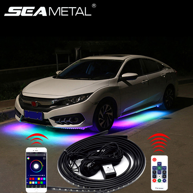12V LED Car Chassis Flexible Strip Lights Auto RGB Underglow Decorative Atmosphere Lamp Cars Underbody System Light Accessories
