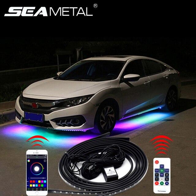 12V LED podwozie samochodu elastyczny pasek światła Auto RGB Underglow dekoracyjne lampy atmosfera samochody Underbody System akcesoria oświetleniowe