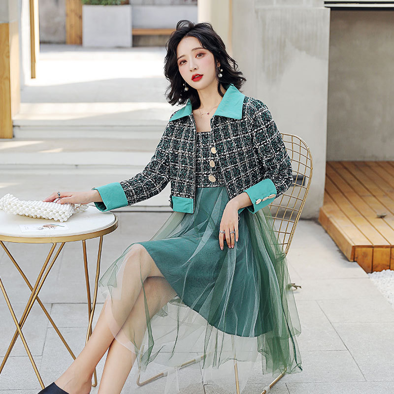 Graceful Plaid Small Suit Set 2020 Spring New Style Retro Immortal French Mesh Dress Two-Piece Dress