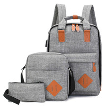 Mens Backpack Bag Male Polyester Laptop Computer Bags High School Student College Students USB Charging 3 Pieces