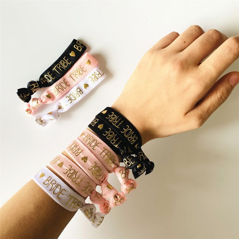 10Pcs/Set Bachelorette Wedding Party Hair Ties Team Bride Elastic Knot Bracelet