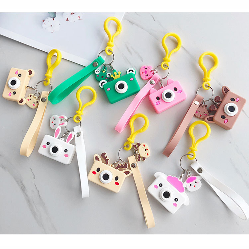 Simulation Camera Keychain Luminous Key Creative Camera Keychains PVC Silicone Cartoon Pendants Children Toys Bag Accessories