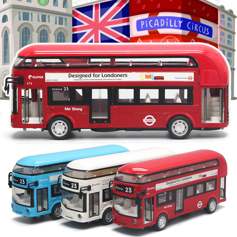 1:43 Car Model Double-decker Bus London Alloy Diecast Vehicle Toy Kids Xmas Gift