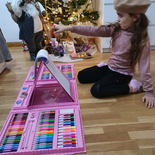 Large Drawing Set Colored Pencil Crayon Watercolors Pens With Drawing Board Children Coloring Drawing Set Toy Kid Gifts