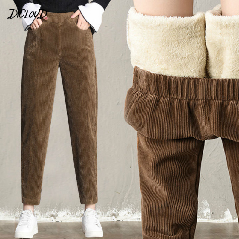 Autumn Winter Corduroy Harem Pants Women Fashion Thickening Casual Ladies' Pants Korean Loose High Waist Trousers Plus Size