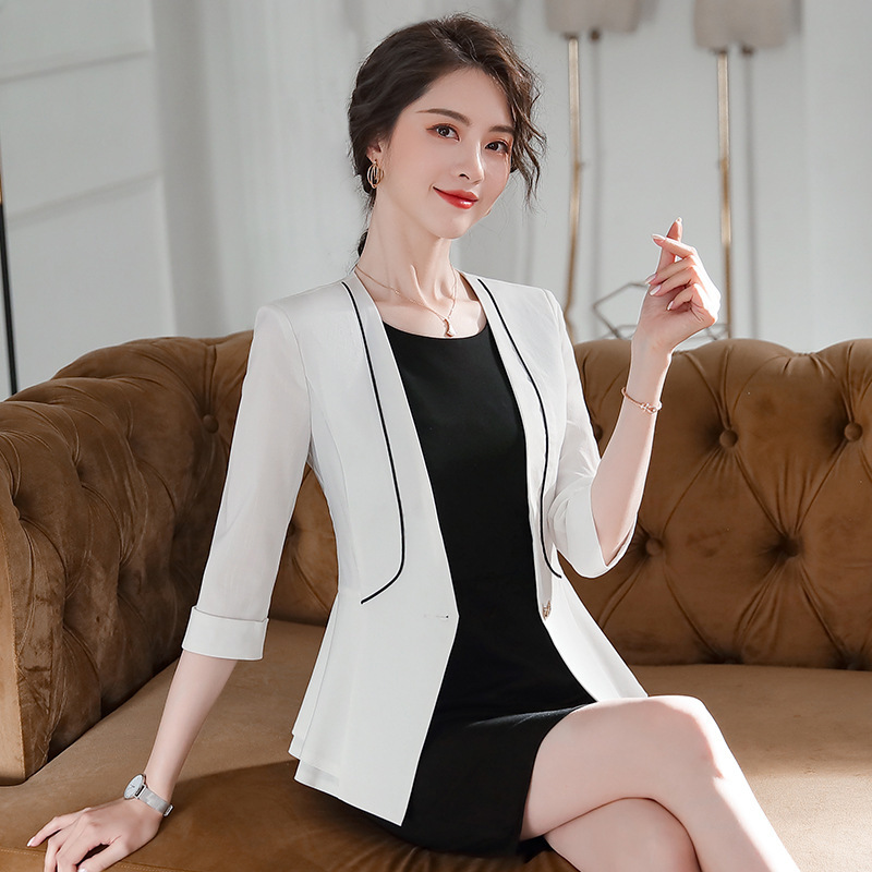 2020 new women's red blazer Summer casual high quality fabric half sleeve jacket girl Fashion office small suit