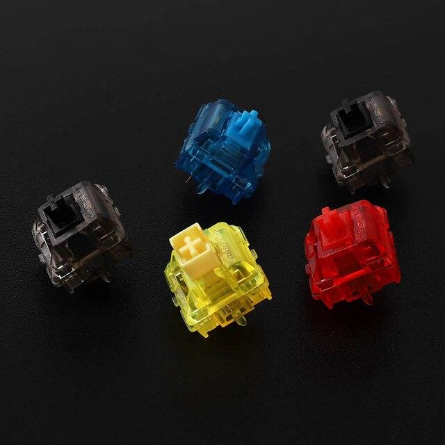 Gateron interruptores de tinta v2, carcasa de smokey transparente, azul, amarillo, rojo, negro, silencioso, Teclado mecánico, interruptor personalizado de 5 pines