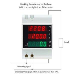 Image 2 - D52 2047 AC 80 300V 0 100A Su Guida Din LED Voltmetro Amperometro Tensione contatore di Energia Attiva del Fattore di Potenza Volt di Corrente multi funzione
