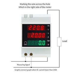 Image 2 - D52 2047 ac 80 300 v 0 100a din 레일 led 전압계 전류계 활성 역률 에너지 미터 전압 전압 전류 다기능