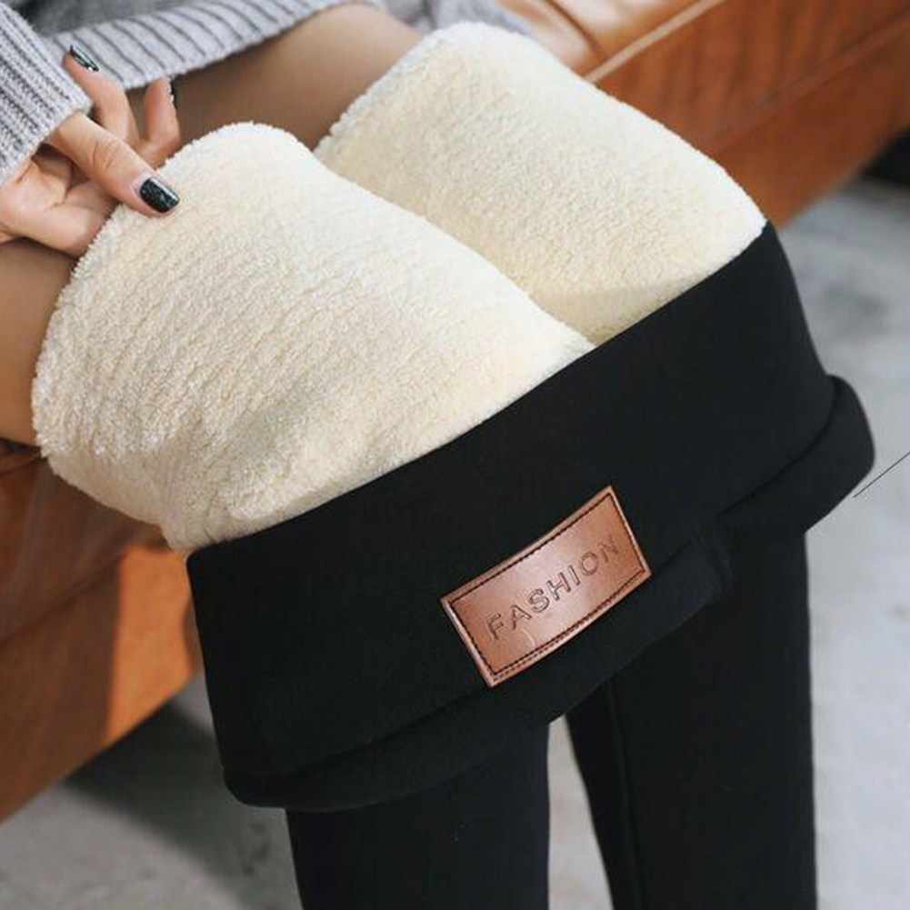 Black High Waist Thermal Pants Winter Skinny Thick Velvet  Fleece Warm Leggings Women Trousers Stretch Pants Leggings Polar