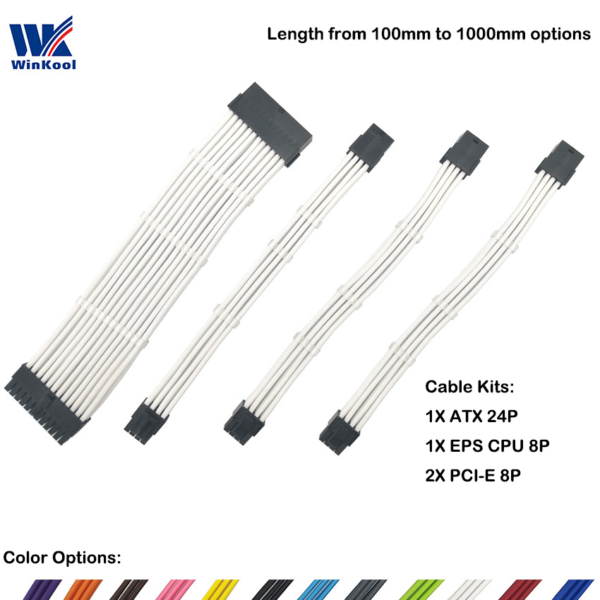 WinKool Female To Male 18AWG Sleeved PSU Extension Power Cord / Cable Kits 1X ATX 24P CPU 8P 2X PCI-E 8P