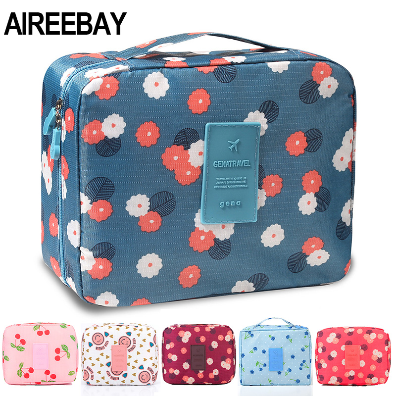 AIREEBAY Printing Cosmetic Bag Fashion Women Makeup Bags Organizer Waterproof Cosmetics Pouchs For Travel Toiletry Bag Kits