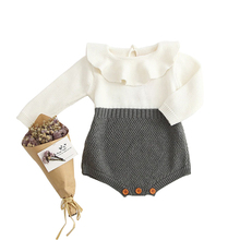 Newborn Baby Girl Romper Ruffled Toddler Knitted Infant Jumpsuit Autumn Girls Clothing Casual Style Cotton Overalls autumn baby knit romper infant sweet girl knitted rabbit overalls bunny baby jumpsuit toddler girls boys clothing roupa menina