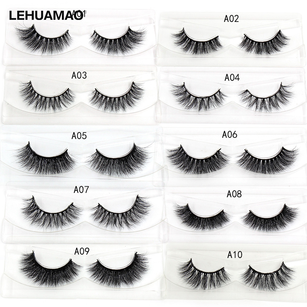 LEHUAMAO Mink Lashes 3D Mink False Eyelashes Long Lasting Lashes Natural Cross Mink Eyelashes Fluffy Dramatic Eye Makeup