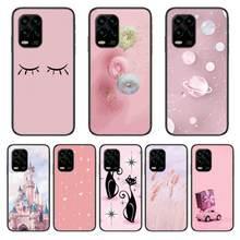 Castelo gato rosa caso de telefone para xiaomi redmi nota 9s 8 7 6 5 a pro t anime capa preta silicone volta muito sênior