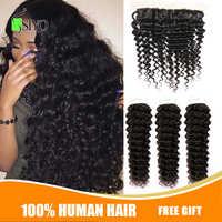 """Siyo Deep Wave 3 Bundles with Frontal 8-26"""" Malaysian Hair with 13x4 Lace Frontal Remy Human Hair Bundles with Closure"""