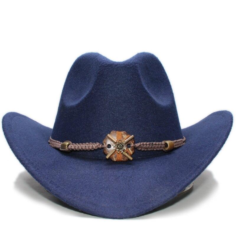 Vintage Parent-child Women Men /Kid Child Wool Wide Brim Cowboy Western Hat Cowgirl Bowler Cap Wood Knitted Bead Band (57cm/54cm