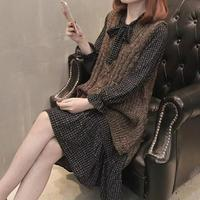 Spring New Korea Two Piece Knitted Vest Plaid Midi Dress Casual Ruffles Loose Dress Long Sleeve Bowknot A Line Dress