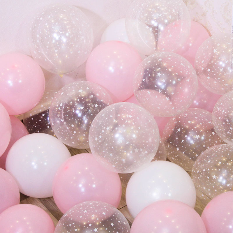 20pcs 10inch Latex Balloons Set Star Clear Pink Gold Balloons Wedding Decoration Baby Shower Birthday Party Supplies Home Decor