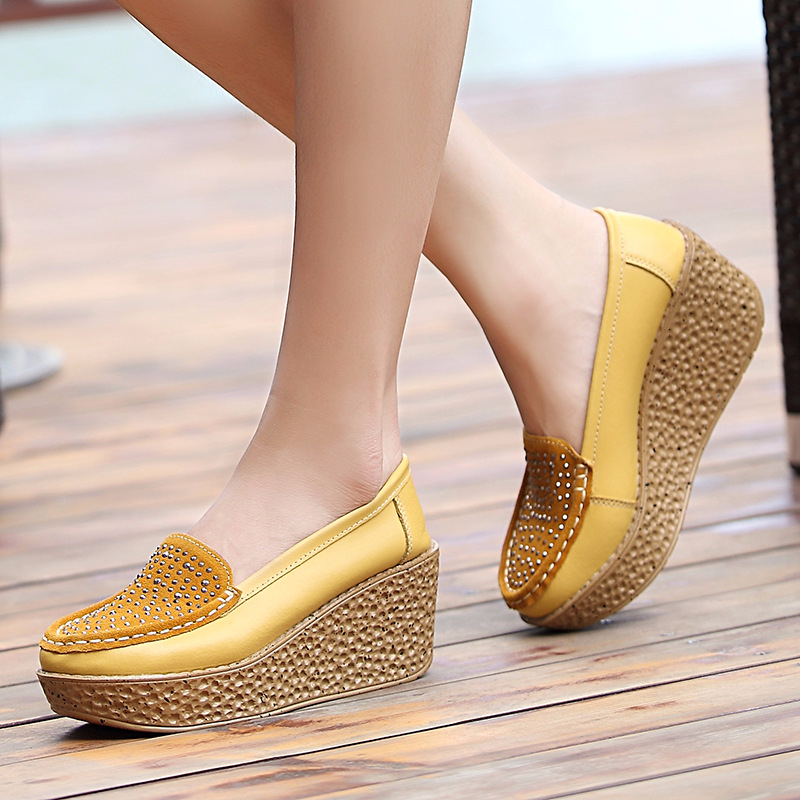 Women Genuine Leather Wedge Platform Shoes Ladies Slip On Crystal Flat Shoes High Heel 7cm Thick Sole Shallow Flats Casual Shoes