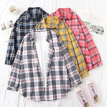 Loose Long Women Blouse Fashion Plaid Turn-down Collar Office Lady Tops Full Sleeve Autumn Shirt Pockets Cardigans Casual Blusas cotton long shirt fashion plaid turn down collar full sleeve office lady autumn women blouse plus size casual blusas student top