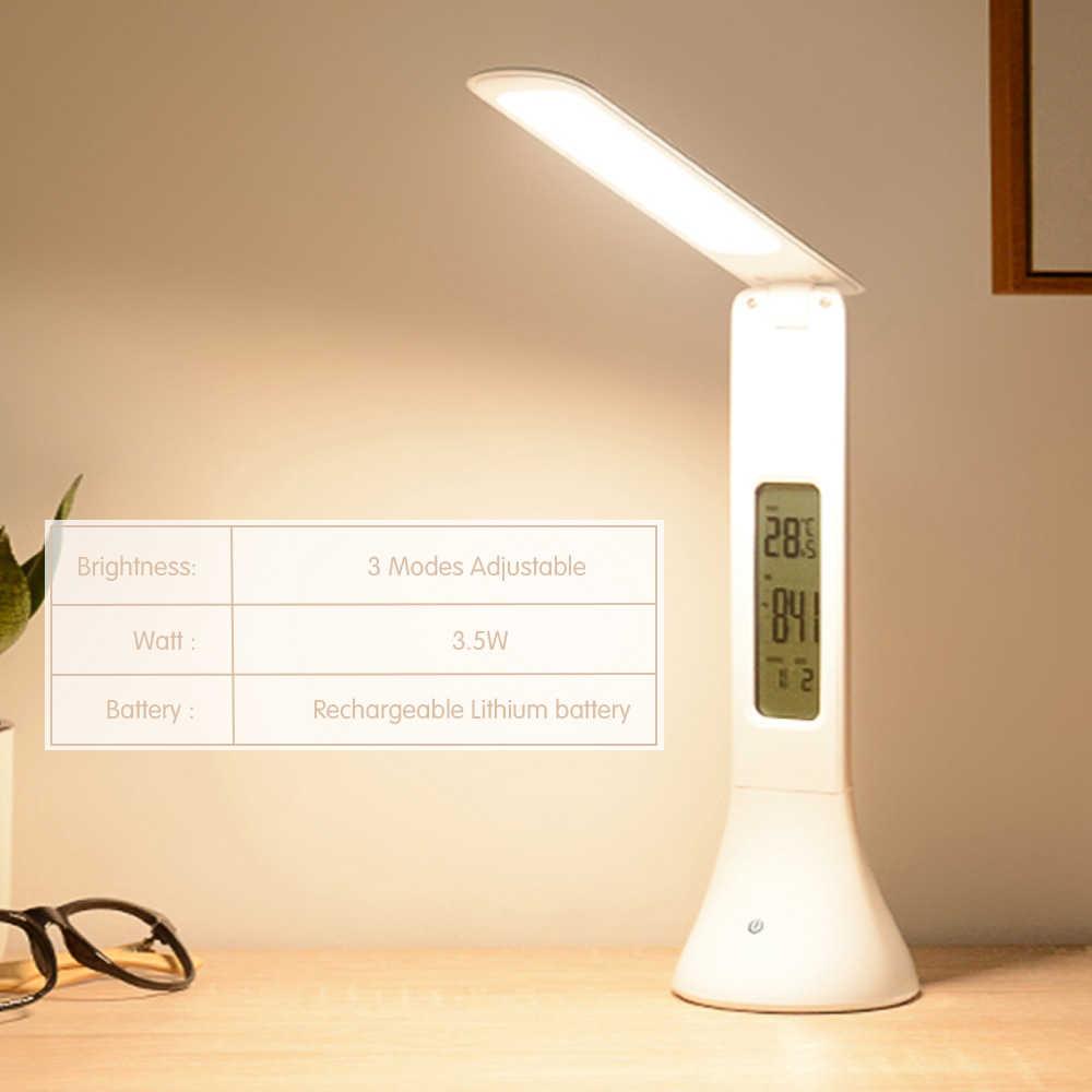 2019new LED โคมไฟตั้งโต๊ะ Dimmable Touch โคมไฟตั้งโต๊ะนาฬิกาปลุกอุณหภูมิปฏิทินตาราง Light night ไฟ
