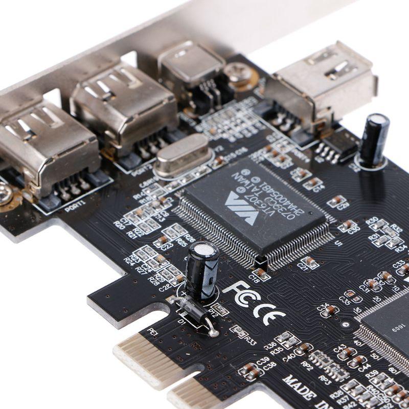 Компьютерная шина PCI-e 1X IEEE 1394A 4 Порты и разъёмы (3 + 1) шина сверхбыстрой передачи данных адаптер карт 6-4 Pin кабель для настольных ПК Прямая пост...