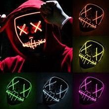 هالوين Led قناع حفلة تنكرية LED النيون Maske ضوء متوهجة تأثيري الرعب هالوين Led قناع EL مصباح سلك حتى في الظلام