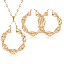 Necklace-Set Earrings Jewelry African Beads Nigerian Wedding-Copper Gold-Color Hoop CWEEL