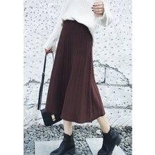 AIFEIYIYI Осень Зима тонкая высокая талия А-силуэт юбка утолщенная Женская юбка Модная трикотажная юбка Повседневная юбка в рубчик средней длины