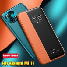 Housse en cuir pour Xiaomi Mi 11 étui pour Xiaomi Mi 11 étui en cuir à rabat Transparent Transparent vue fenêtre antichoc Funda