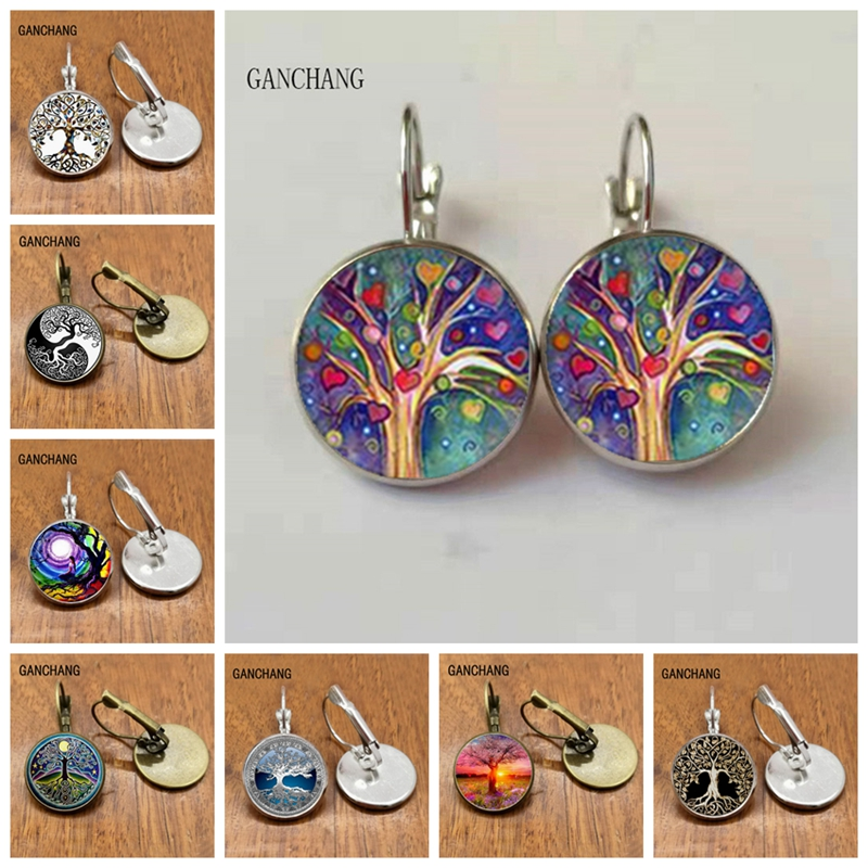 Tree Of Life Stud Earrings Weeping Willow Ear Nail Life Tree Jewelry Glass Dome Earrings For Women