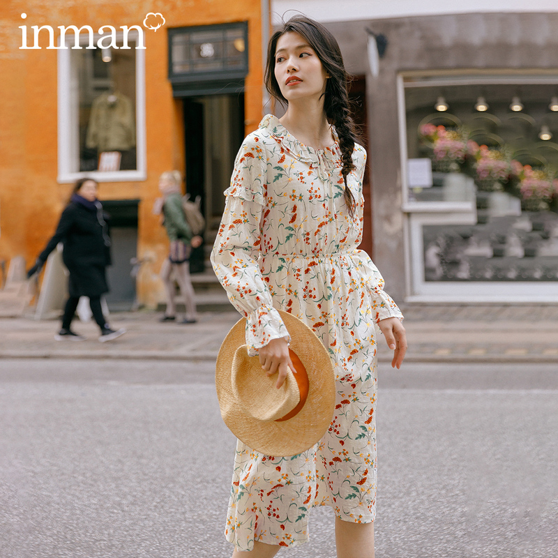 INMAN 2020 Spring New Arrival Literary Pure and Fresh Two-double Stringy Selvedge Lace-up Slimmed Nipped Waist Dress