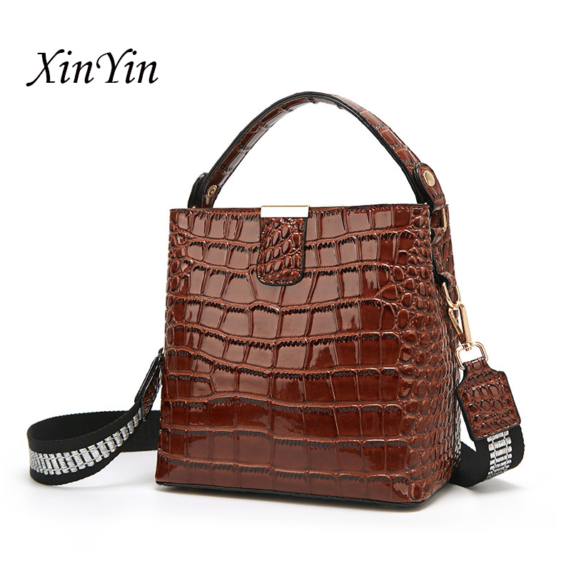 Luxury high quality alligator printed bucket bags fashion brand designer channels shoulder bag high capacity tote bags for women