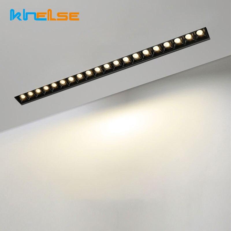 Frameless Indoor Recessed Downlight AC110-240V LED Linear Bar Lamp LED Ceiling Light Long Strip Corridor Aluminum Grille Light