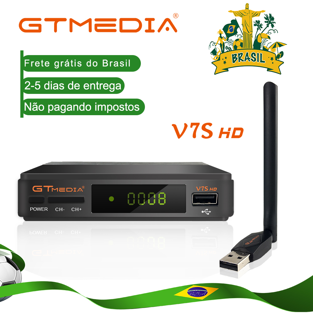 GTMedia V7S HD Satellite Receiver Full 1080P With USB WIFI H.264 DVB-S2 With 1 Year Europe Spain CCCAM TV Decoder GTmedia V7S HD
