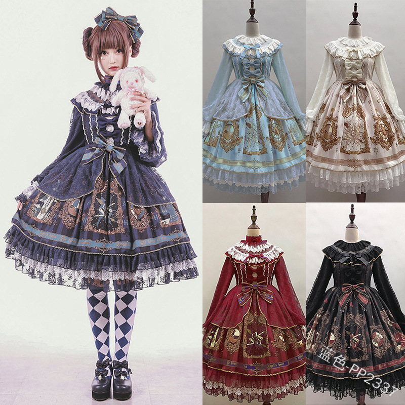 Gothic Palace Sweet Lolita Dress Vintage Lace Bowknot Stand High Waist Printing Victorian Dress Kawaii Girl Gothic Lolita Op Cos