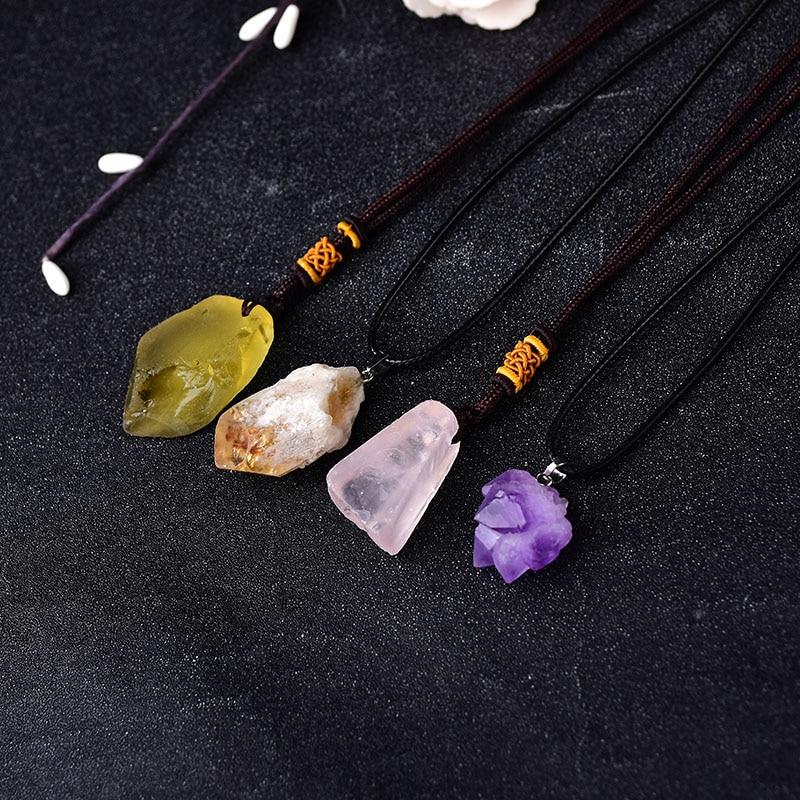 100% натуральный аметистовый кулон, необработанные кристаллы, восстанавливающий камень рейки, минеральный камень, подвеска на удачу для мужч...