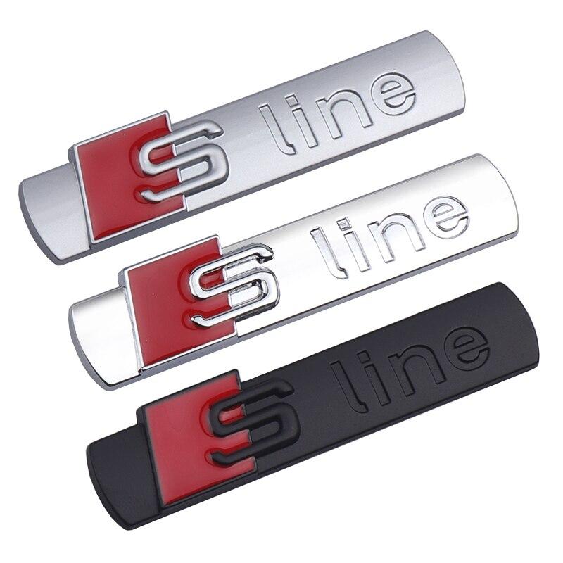 1 pièces Pour Logo Sline 3D Autocollant de Voiture en métal Corps Latéral Lettres Badge Autocollants Pour S A1 A2 A3 A4 A5 A6 A7 A8 Q1 Q2 Q3 S4 S5 Style De Voiture