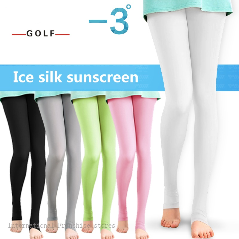 2PCS Compression Cool Pantyhose Lady Sunscreen Leggings Pants Foot Socks Tennis Sportswear Golf Skirt Girl Long Bottom Socks