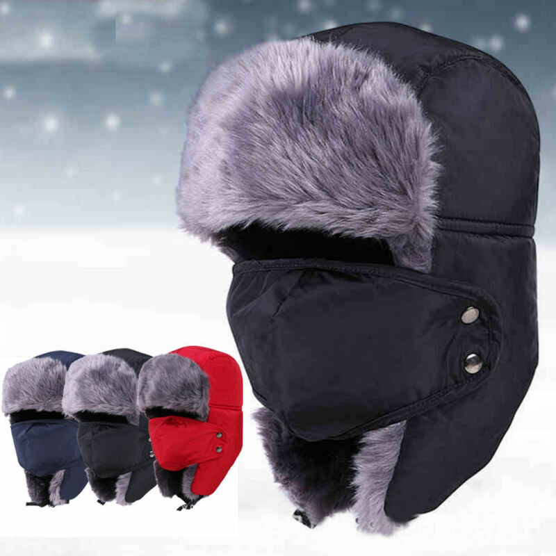 Hirigin Winter-Hat Mask Russian Hats Earflap Women for Thicken Balaclava Cotton Fur Keep-Warm-Caps