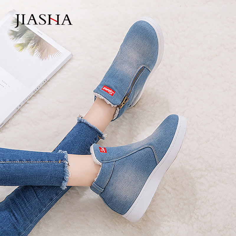 Denim Winter Shoes Woman 2019 New Women Sneakers Side Zipper Plush Platform Warm Winter Canvas Shoes Tenis Feminino Plus Size